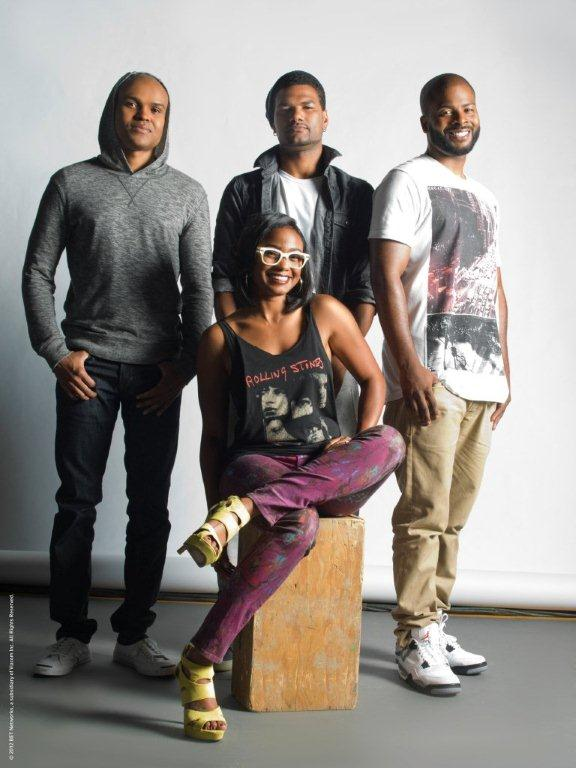 """From L to R: Cast members George O. Gore, Damien Dante Wayans, Craig Wayans and Tatyana star in """"Second Generation Wayans,"""" premiering Jan. 15 on BET at 10:30 pm EST."""