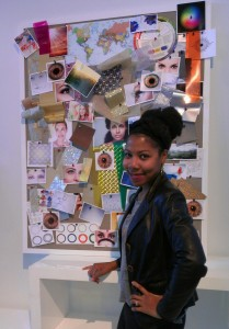 Me standing in front of the eye-inspired mood board at the Acuvue 1-Day Defined Contact Lenses press preview in New York City.