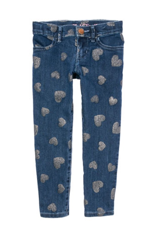 Girls Glitter Heart Print Denim Jeggings