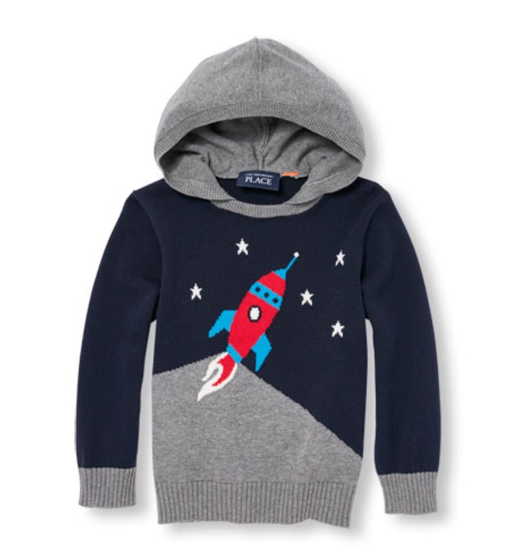 Beginning of Product Name Toddler Boys Long Sleeve Rocket Ship Hooded Sweater