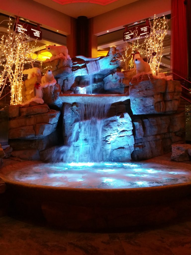 The welcoming waterall in the foyer of Mount Airy Casino Resort.
