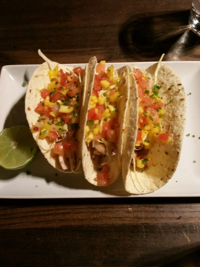 Mahi mahi fish tacos at Guy Fieri's restaurant at the Mount Airy Casino Resort.