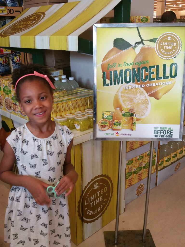 My daughter at the Limoncello promotion stand at our local Stop & Shop in Brooklyn.
