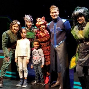 """My kids with the cast of """"Interstellar Cinderella,"""" at the Beckett Theatre at Theatre Row in New York City, Nov. 18, 2017."""